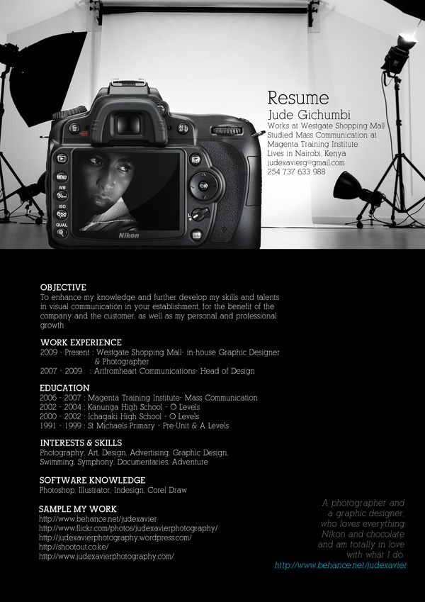 an interesting photography resume - Photographer Resume
