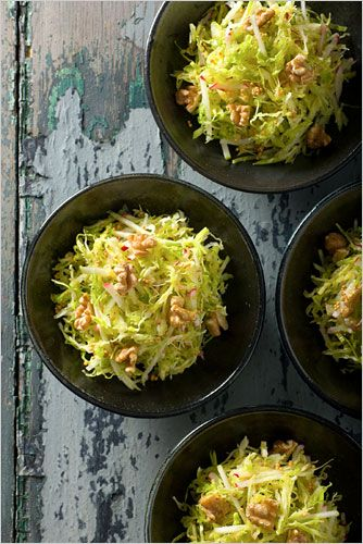 Savoy cabbage slaw with applesauce vinaigrette and mustard seeds. Click on the image for the full recipe. Photo: Francesco Tonelli for The New York Times