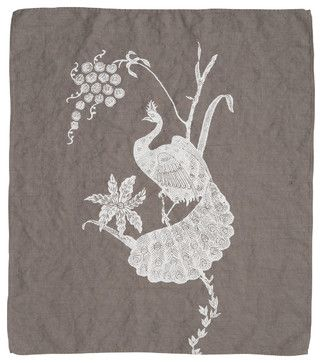 Indochine Peacock Hand Towel, Stone/White - contemporary - Dishtowels - Cricket Radio