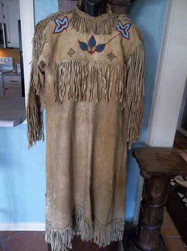 Antique Native American Beaded/Beadwork Dress Ojibwe/Chippewa Leather! RARE. | eBay