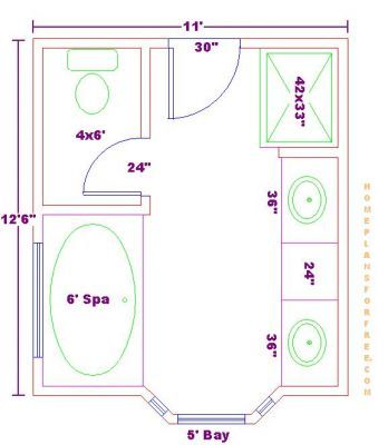 Galley Master Bathroom Plans | Free Bathroom Plan Design Ideas   Master Bathroom  Design 11x12 Size