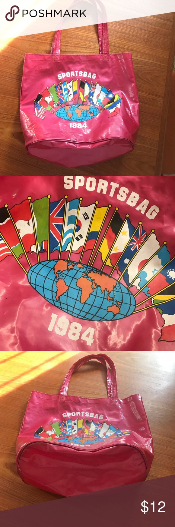 1984 international sports bag Cute pink tote with world flags from 1984 - the year Los Angeles hosted the summer Olympics! Feels like vinyl. Vintage Bags Totes