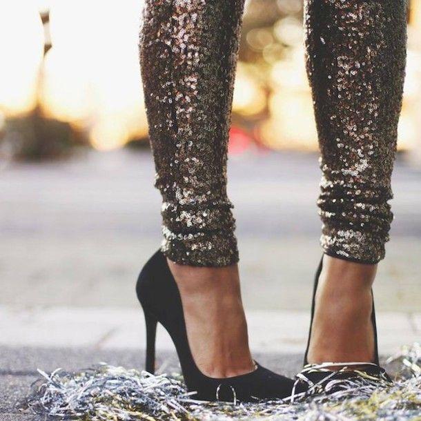 Pants: sequin sequins pumps shoes pointed toe pumps high heel pumps black heels high heels