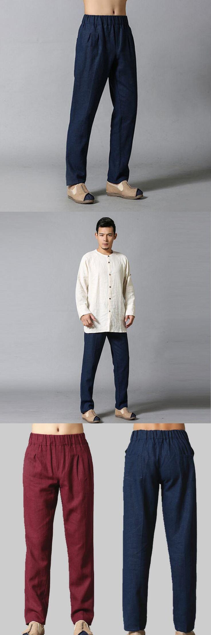 One Size Cotton Linen Pants Comfortable Men Casual Linen Trousers Men Soft Natural Flax All Match Pants Two Pockets 4Colors