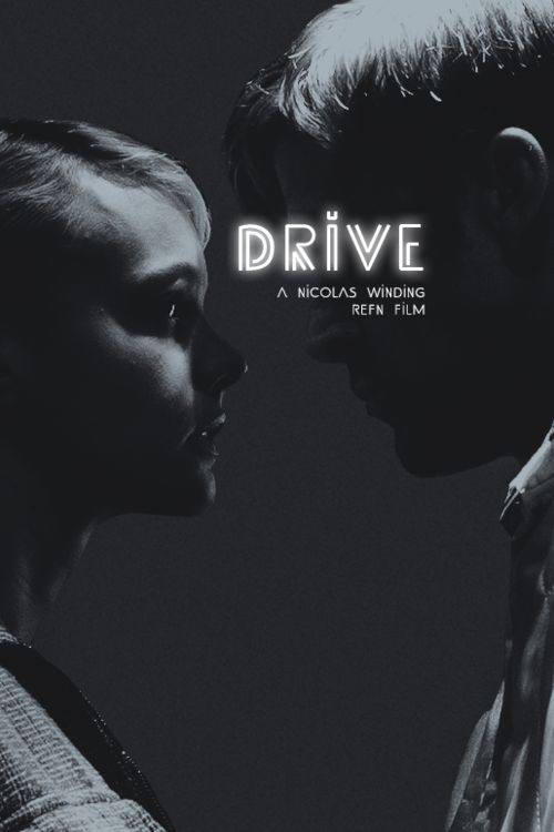"""Drive - Great Poster.The Title is over his face because the lighting by Refn was amazing in the Elevator. Light when they kiss but then darkness when he is about to stomp the guys head in. His kind side and his evil side. A side he did not want her to see but had to if he was going to protect her. And that is why he stomps his head to a pulp cause he is angry that this guy has """"forced his hand"""" so to speak. There are other things too and  that is what makes this film a treasure.."""