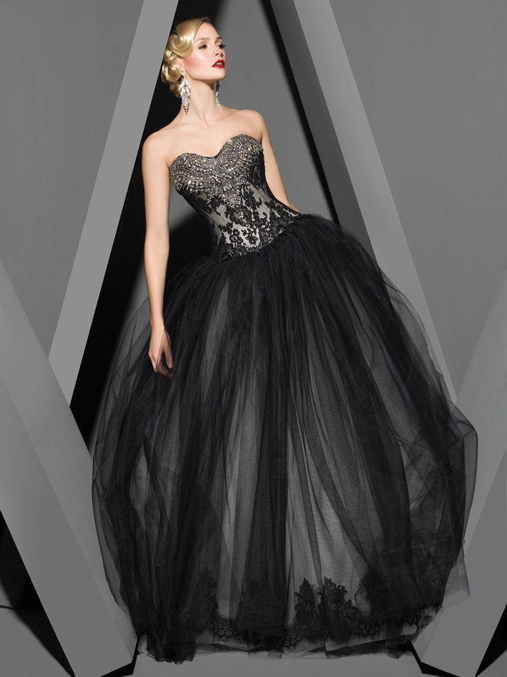 25 gorgeous black wedding dresses wedding tulle wedding for Images of black wedding dresses