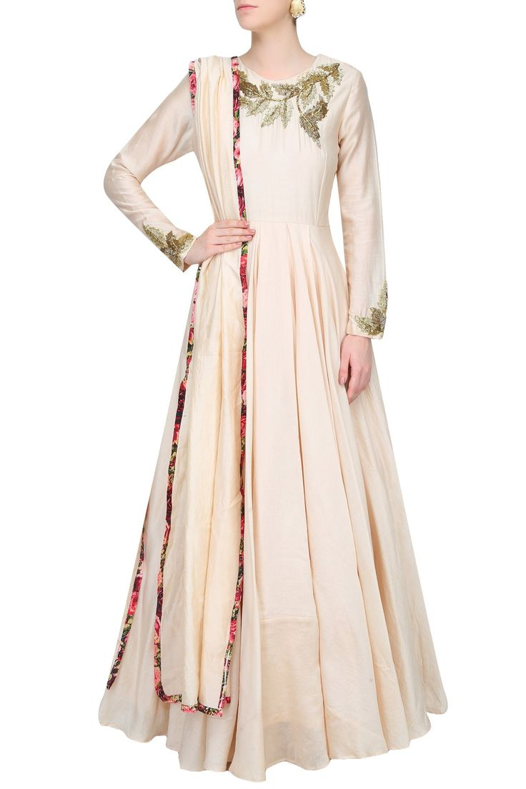 Ivory leaves motifs katdana embroidered anarkali set available only at Pernia's Pop Up Shop.