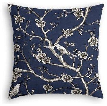 Blue Modern Chinoiserie Custom Euro Sham contemporary-pillowcases-and-shams