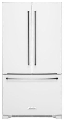 KitchenAid - 20.0 Cu. Ft. Counter-Depth French Door Refrigerator - White - Larger Front