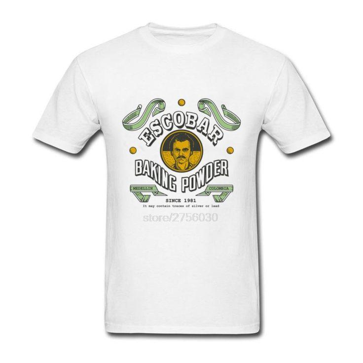 New 2017 Summer Fashion Escobar baking powder Design T Shirt Men's Narcos Pablo Escobar Tops Hipster Tees #Affiliate