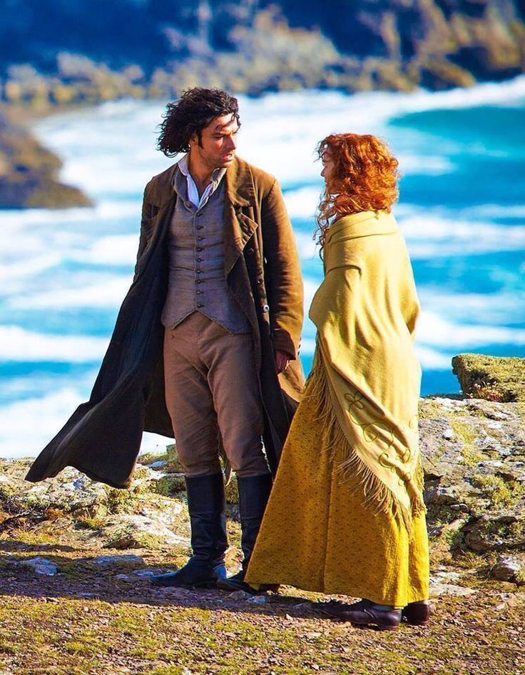 The cliffhanger season finale. Ross and Demelza are literally standing on a cliff. #Poldark (2015) 1x8. #Romelza #AidanTurner #EleanorTomlinson #WinstonGraham #PoldarkPBS