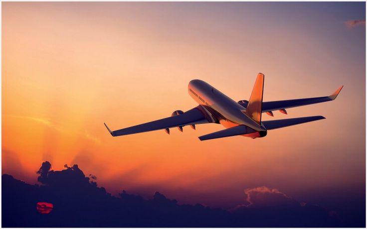 Airplane Take Off At Sunset HD Wallpaper