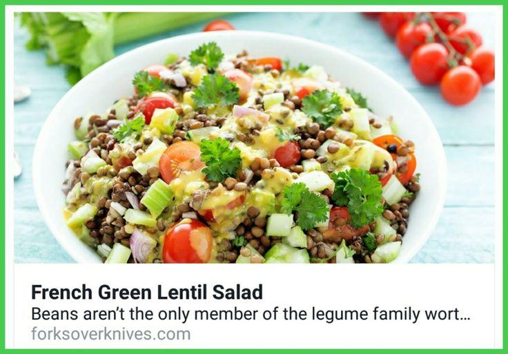 French Green Lentil Salad... Who else loves salads inthe summer? https://www.forksoverknives.com/recipes/french-green-lentil-salad/?utm_medium=social&utm_source=facebook&utm_content=vegan&utm_term=plant-based#gs.BByI7bQ #forksoverknives #lentils #salad #cleaneating #plantbased #vegan #wfpb #glutenfree #healthyeating #plantstronghealthandfitnesswithmelanie