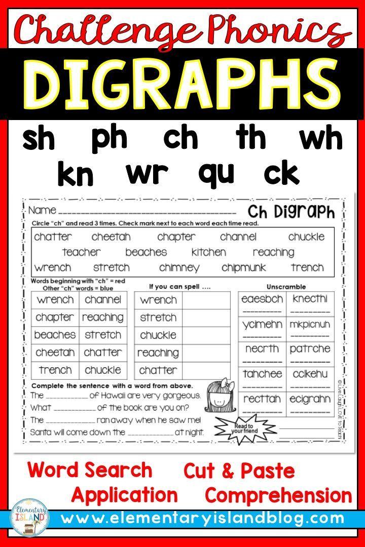 Challenge Phonics Digraph Worksheets Phonics Digraphs Sh