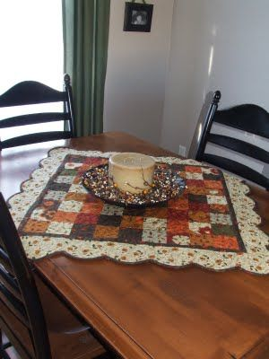 Moda Bake Shop: Gobble Gobble Table Topper and Table Runner.    note the pumpkin design in the quilting. Cute.