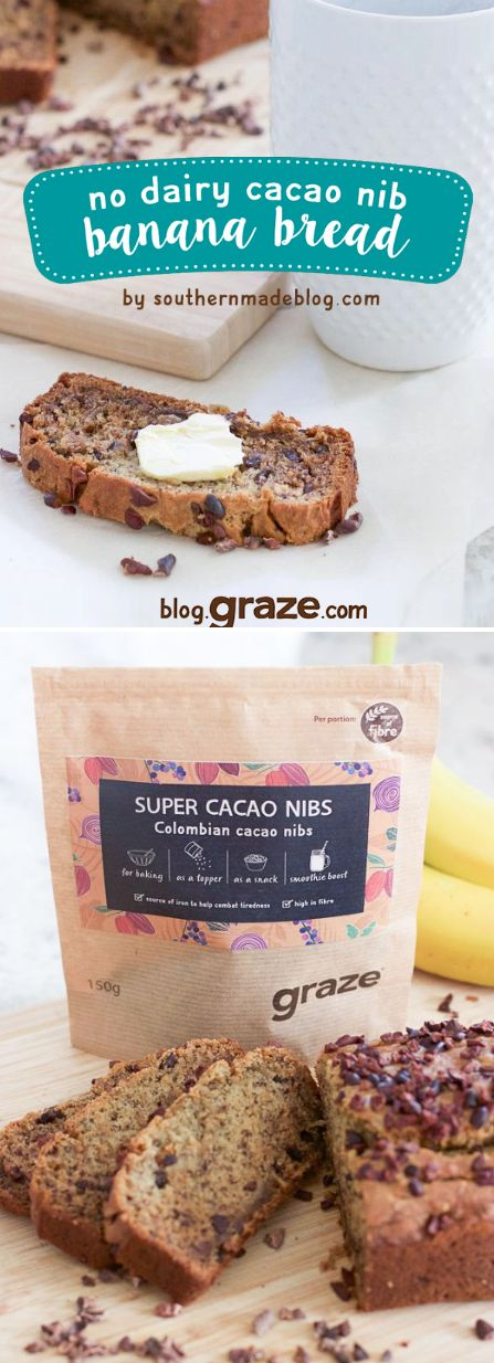 This bread is delicious and pairs perfectly with a cup of coffee for breakfast or makes a great snack during the day! I love all of the superfood snacks and ingredients graze offers and this bag of cacao nibs are perfect for this recipe.  What's great is they're high in fibre, less processed, and have no added sugar.