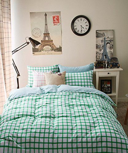 Brada Green Bedding Scandinavian Design Bedding Stripes and Plaids Bedding Gingham Bedding Teen Bedding Kids Bedding Queen Size ** For more information, visit image link.