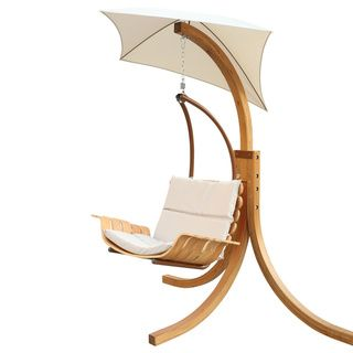 This swinging outdoor chair is the perfect way to beat the heat while relaxing this summer.    #patio #homedecor