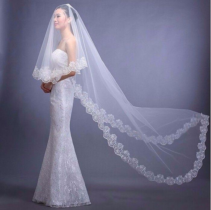 2016 tiga meter kerudung pernikahan yang panjang, Putih gading satu lapisan Tulle kerudung pengantin pengantin