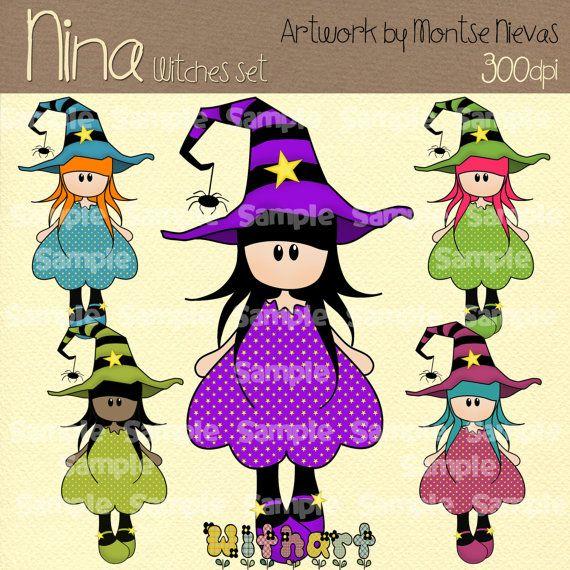 Halloween witch Nina dolls 0242 digital clip art set by Withart, $4.50