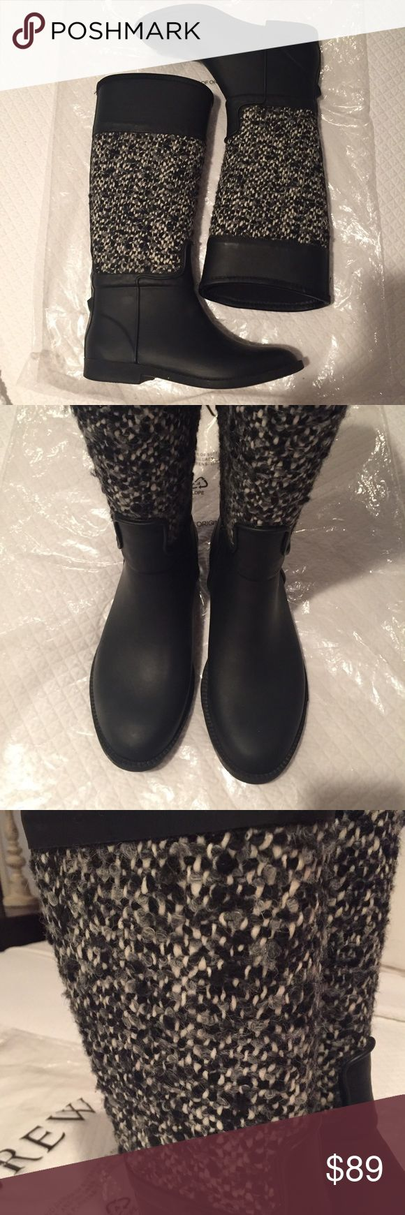 J. Crew black and tweed rain/winter boot J. Crew black and tweed rain/winter boot. Super comfortable and worn only a few times. Have grip at back near bottom for easy slide off J. Crew Shoes Winter & Rain Boots