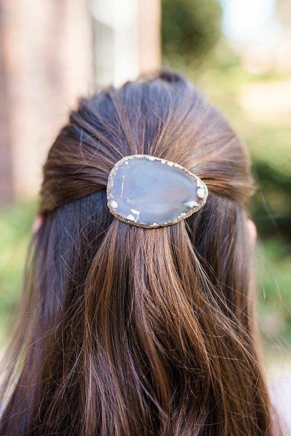 Brown agate hair barrette