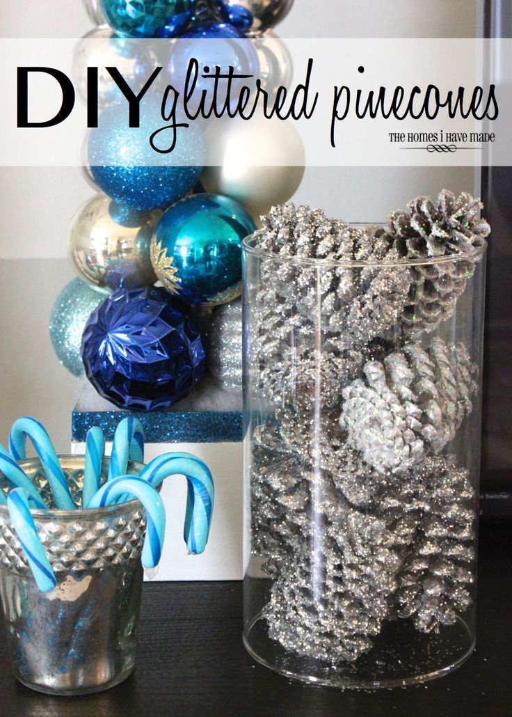 Glittered Pinecones... Spray paint, spray adhesives, glitter and pinecones! Easy Peasy (Weekend Holiday DIY Craft)