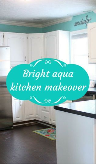Love the bright aqua but could see white/gray cabinets