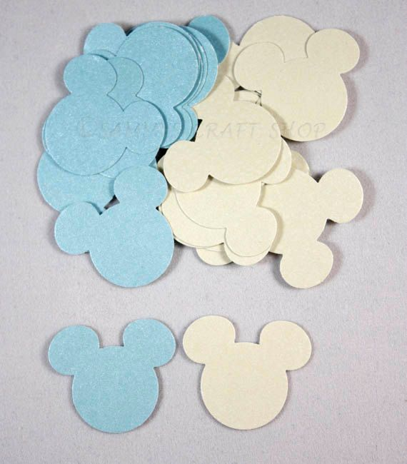 100 Blue and White Shimmer Mickey Mouse Confetti, Die Cuts, Mickey Mouse Birthday Party Decorations, Mickey Mouse Baby Shower, Mickey Party