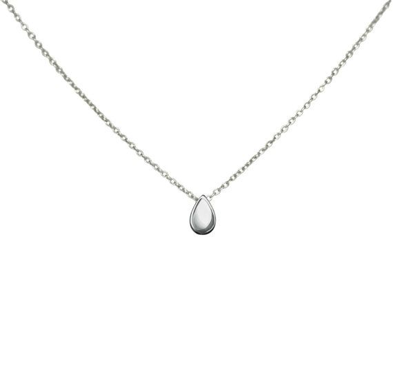 Silver Teardrop Necklace Delicate Drop Necklace by Evyral on Etsy