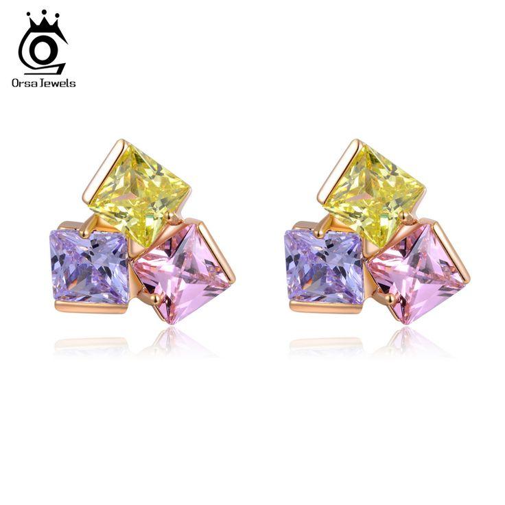 ORSA KLEJNOTY Potrójne Kolory Księżniczka Cut AAA Austriacka Cubic Cyrkon Kolczyk Kwadratowych Imitacja Diamentu OME09