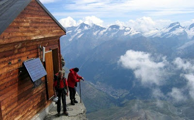 At 13,133 ft., the Solvay Hut is the highest hut on the Matterhorn mountain in Switzerland. It is a small emergency refuge that holds around 10 people. The hut is located on a ledge immediately above the Moseley Slab on the Hörnligrat. It is meant strictly for emergency situations, although some climbers use it as a resting point to take in the spectacular view of all the Monte Rosa summits.
