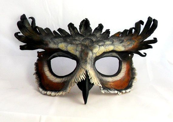 Great Horned Owl Leather Mask by LibertiniArts on Etsy, $120.00