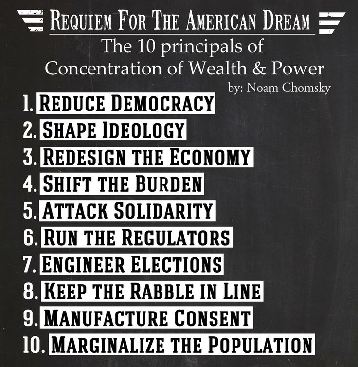Noam Chomsky's Requiem for the American Dream.  The 10 principals of concentration of wealth & power
