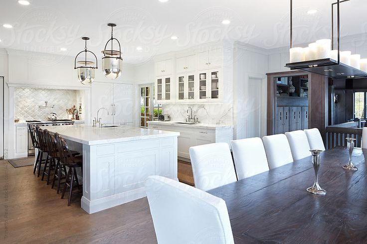 Classic to Eclectic: Dinning Room Scale: 1  Dining room and kitchen in luxury custom home in California