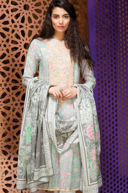 Khaadi Eid Lawn Collection Unstitched 2 Piece Suit M16308 B in grey #LawnCollection #EidCollection2016