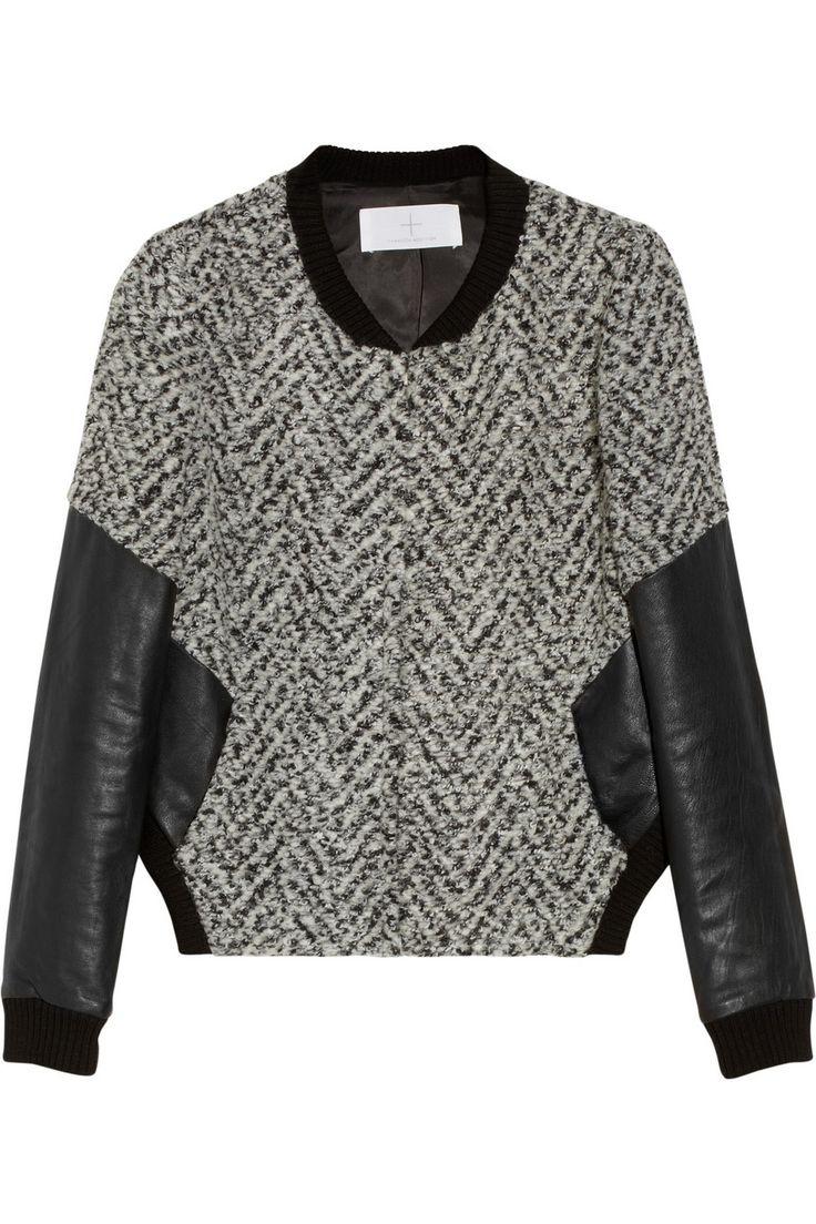 Thakoon Addition | Leather-sleeved tweed bomber jacket | NET-A-PORTER.COM