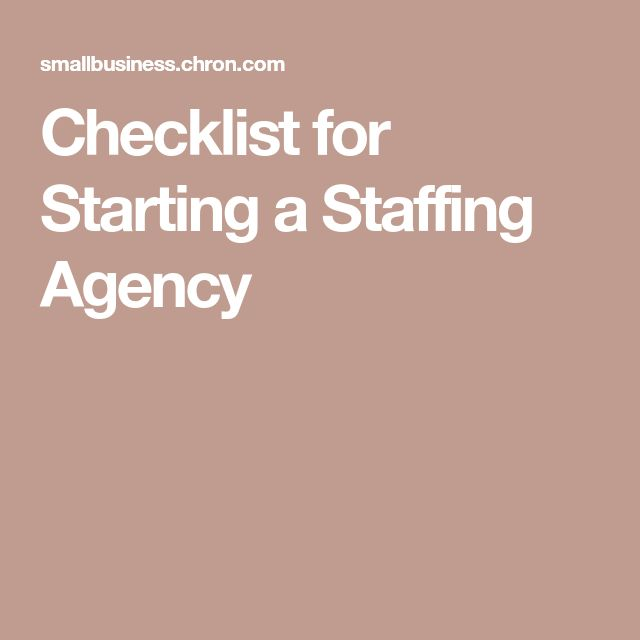 Checklist for Starting a Staffing Agency
