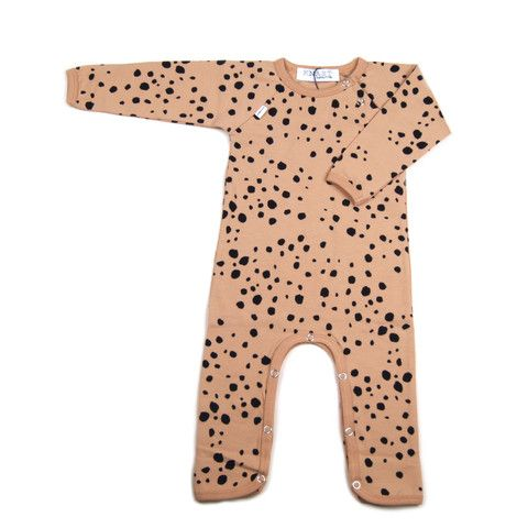 Knast by Krutter super cute cheetah print jumpsuit is certified Oeko-Tex 92% cotton 8% elastane.  This jumpsuit is light caramel in colour with a cheetah print.  It has press studs at collar and around the leg. Made in Greece. $59.95