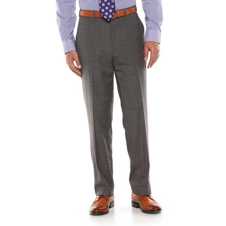 Big & Tall Chaps Performance Classic-Fit Wool-Blend Comfort Stretch Flat-Front Suit Pants, Men's, Size: 40X34, Grey