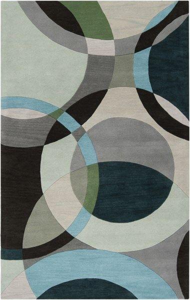 Forum Modern Light Gray Black Teal Wool Area Rug