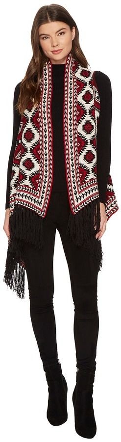 Romeo & Juliet Couture Aztec Sweater Cardigan with Fringe