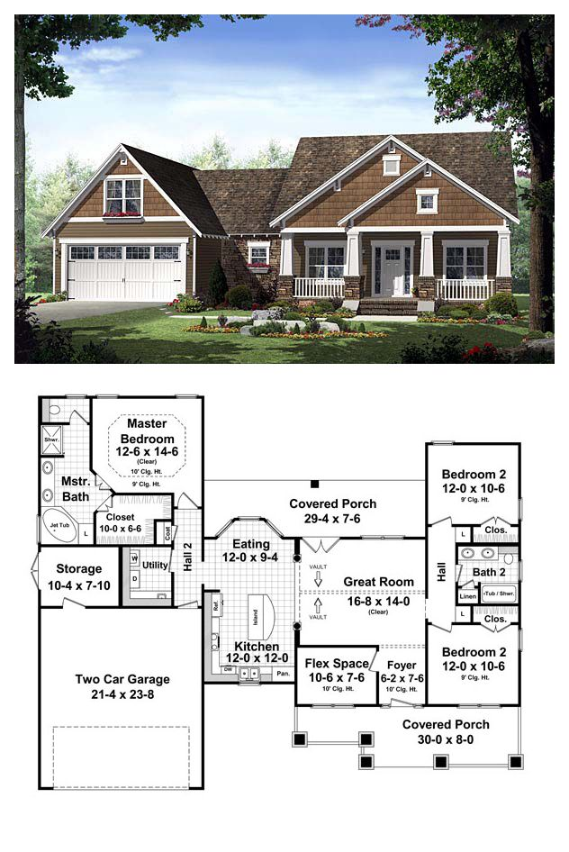 Bungalow style cool house plan id chp 42920 total for Large tiny house plans