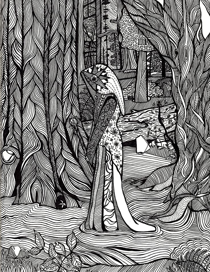 "I love the forest. I grew up in the forest and think that it is just magical. In this coloring page the main subject is a depiction of Anjana. I am reading through this book on symbols (A Dictionary of Symbols) and was intrigued by the concept of her. According to the book: ""These witches […]"