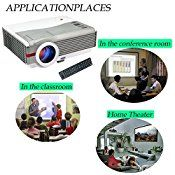 EUG X99+(A) 4200 Lumens LCD Video Projectors Support 1080p 720p HD 120″ Image Red Blue 3D 1024×600 with USB HDMI VGA ATV Output for Home Theater Laptop Outdoor Movie PC LED Projectors