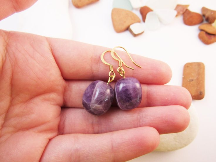 Amethyst Earrings, Gold Plated Jewelry, Gemstone Jewellery, Purple Natural Gemstone, Statement Earring, Purple Amethyst Earring,Gift for her by RubiesAndBees on Etsy