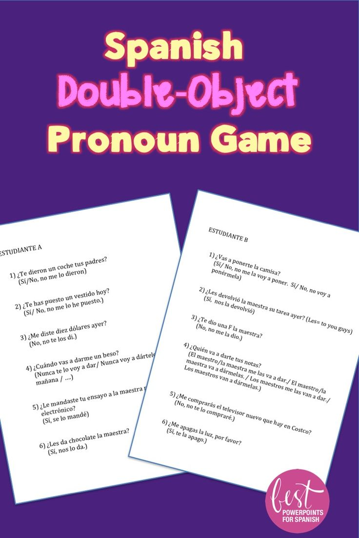 Spanish Double Object Pronoun Game | How to speak spanish ...
