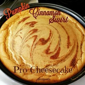 Ripped Recipes - Pumpkin Cinnamon Swirl Protein Cheesecake - Delicious and creamy, guilt free CHEESCAKE! What more is there to say?