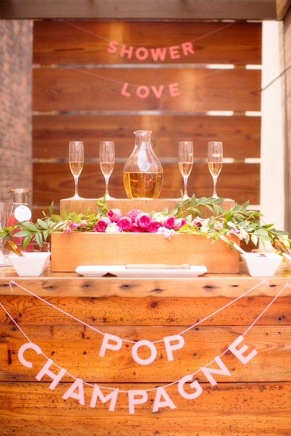pop champagne mimosa bar, photo by Seriously Sabrina Photography http://ruffledblog.com/pink-bridal-shower-inspiration #weddingideas #mimosabar
