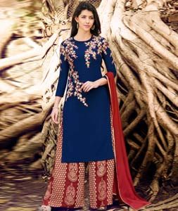Navy Blue Georgette Palazzo Style Suit 88934